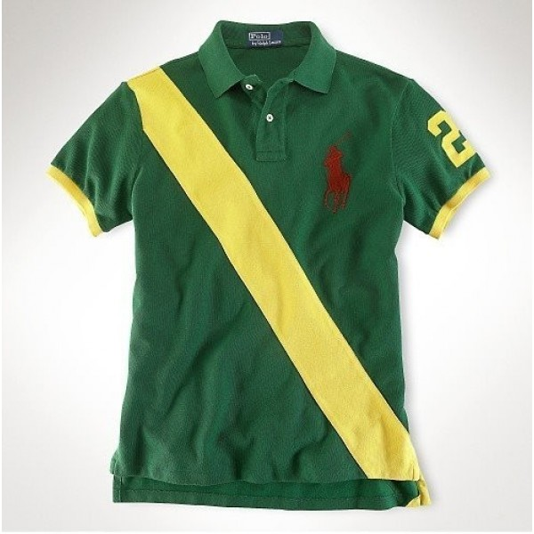 Polo Ralph Lauren men's Classic-Fit Player Polo Green Yellow Red