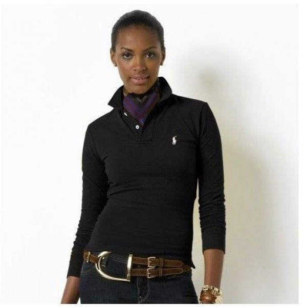 Polo Ralph Lauren Small Pony Polo Long Sleeved In Black