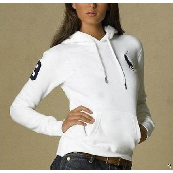Polo Ralph Lauren Polo Hoody white For women with 3 flag